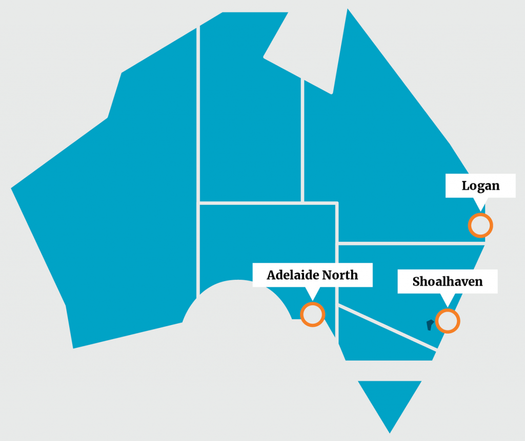 Map of Australia showing the NYEB demonstration site locations of Logan, Shoalhaven, and Adelaide North.